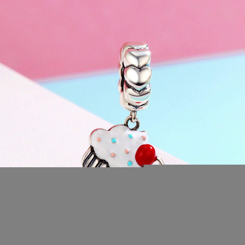 EverReena Cupcake As Element Colorful Enamel Heart Silver Beads Bracelets