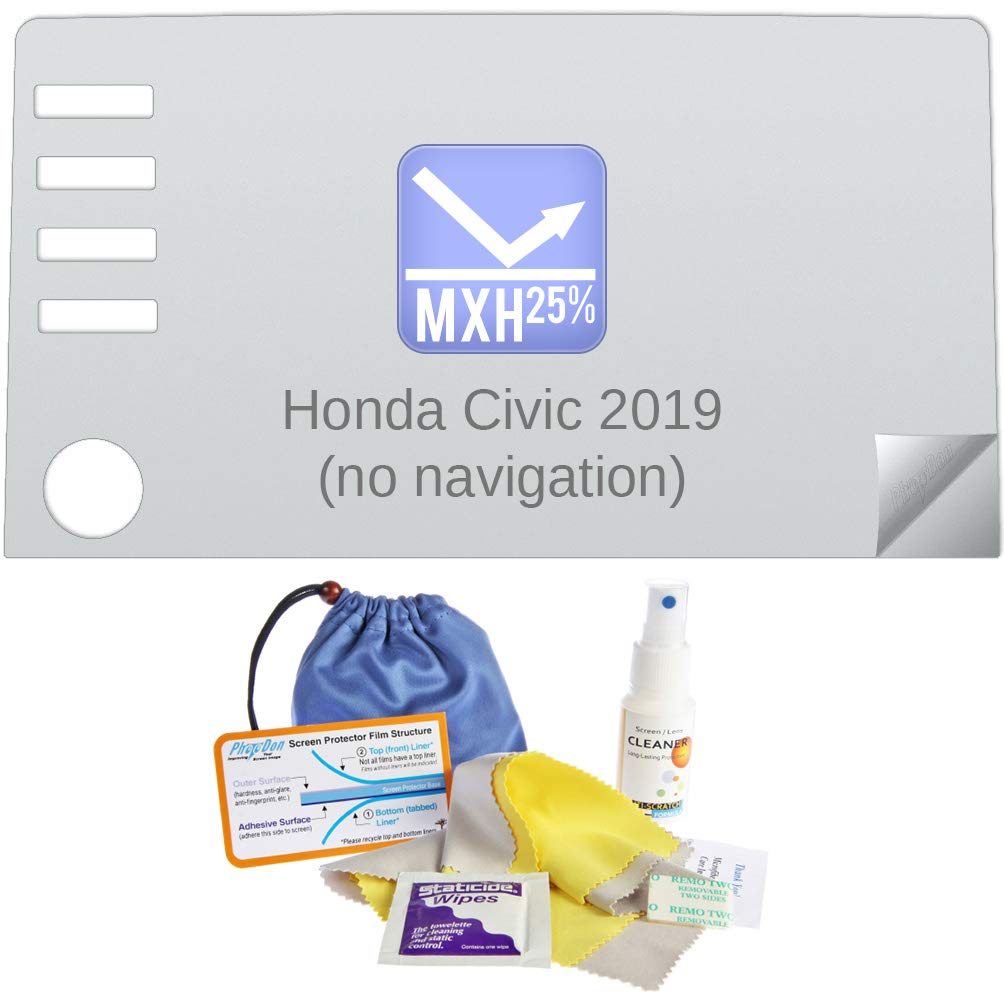 Photodon 25% Anti-Glare Screen Protector for Honda Civic 2019 (no Navigation) 7-inch in-Dash with Mobile Screen Protector Installation and Care Kit by Photodon