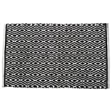 Black and White Bathroom Chardin Home - 100% cotton Diamond Rug Fully reversible - Mat size 21''x34'', Machine washable, Black & White