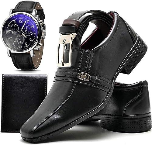 Kit Sapato Social Masculino com Relógio, Cinto e Carteira Top Flex 806