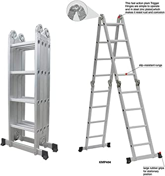 jueyan 6 en 1 de aluminio telescópica (aluminio escalera multiusos Escalera escalera multifunción Articulación – Escalera escalera escalera (hasta 150 kg aluminio escalera 4 x 4 peldaños: Amazon.es: Bricolaje y herramientas
