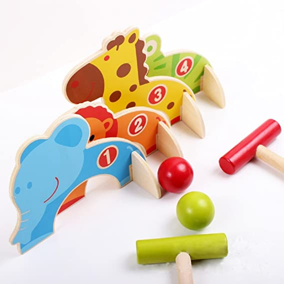 Amazon.com: kidcia 4 puertas Cartoon Animal Croquet Toy ...