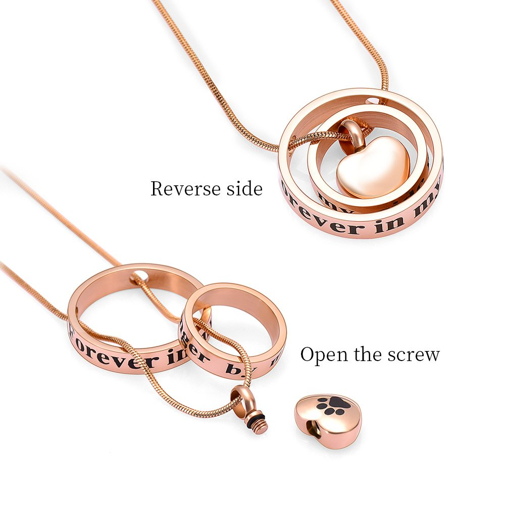 memorial jewelry Forever In My Heart,No Longer By My Side Cremation Pet Urn Necklace Screw Opens and Lock Ashes Pendant Jewelry for Dog Cat (Rose Gold) by memorial jewelry (Image #3)