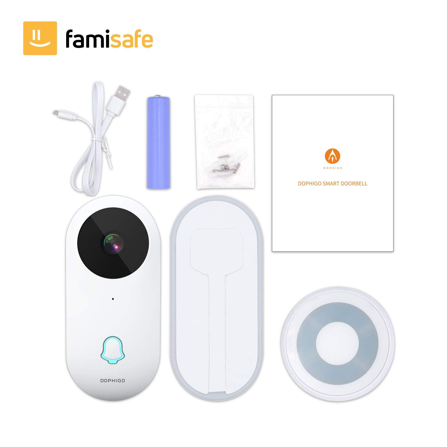 Smart Video Doorbell, Famisafe 960P HD WiFi Security Camera Doorbell with Chime, Real-time HD Video Doorbell, 2-Way Audio, Free Cloud Service, Night Vision and Works with Alexa, APP for iOS Android by Famisafe (Image #7)