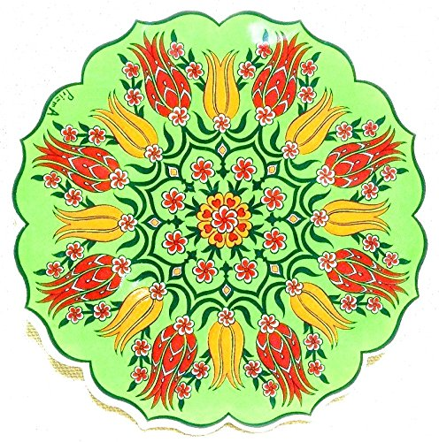 Handmade Turkish Ceramic Pottery Tile Trivet (Red on Green)