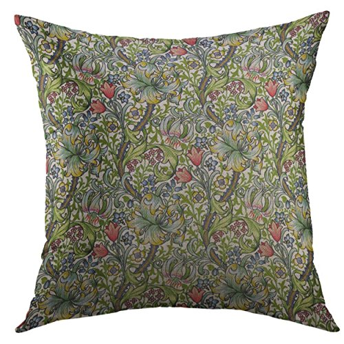 Mugod Pillow Cases Green Vintage William Morris Lily Floral Chintz Nouveau Throw Pillow Cover for Men Women Boys Cushion Cover 20x20 Inch