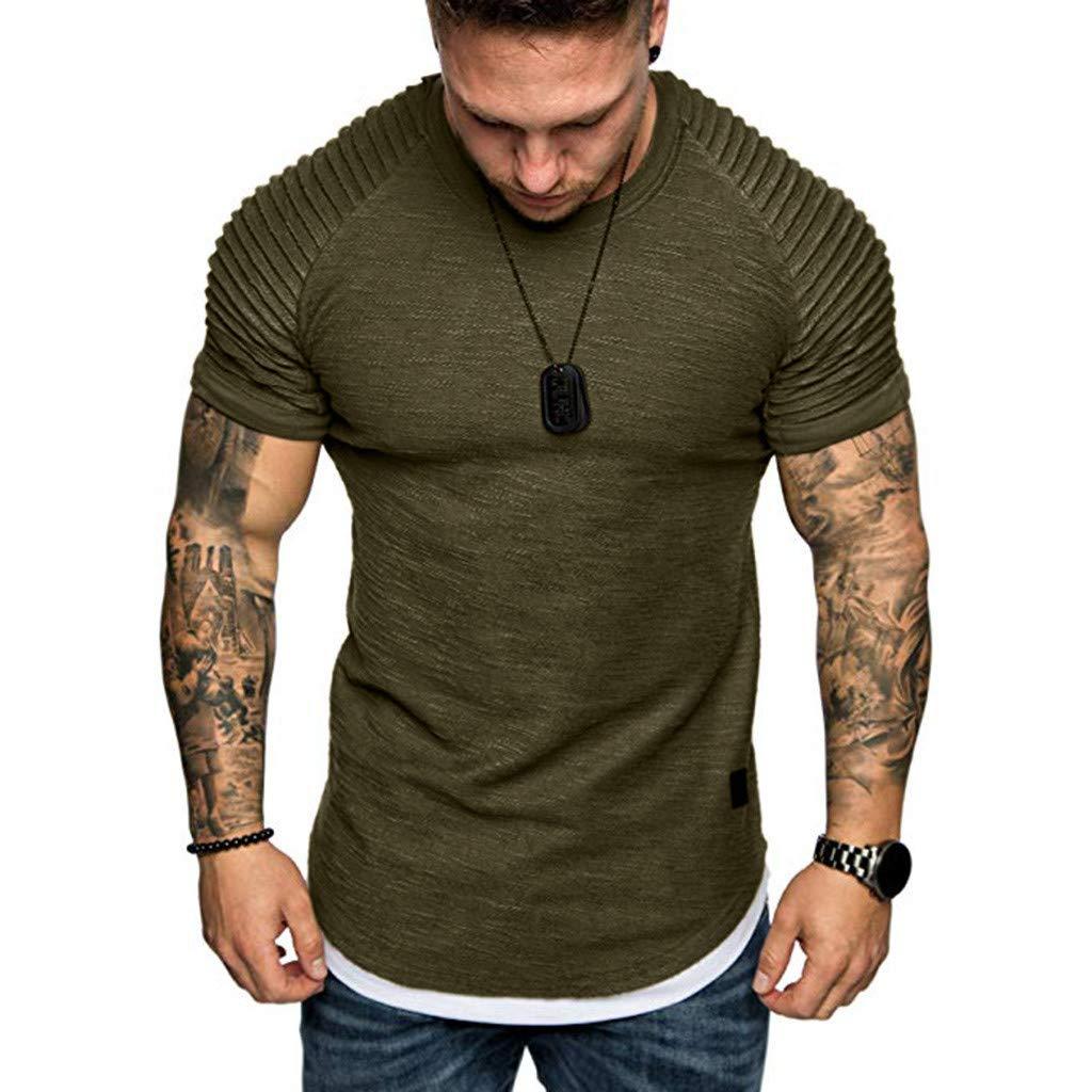 YOMXL Men's Pleated Raglan Short Sleeve T-Shirt Classic Crew Neck Slim Fit Muscle Tees Top T Shirt Army Green by YOMXL