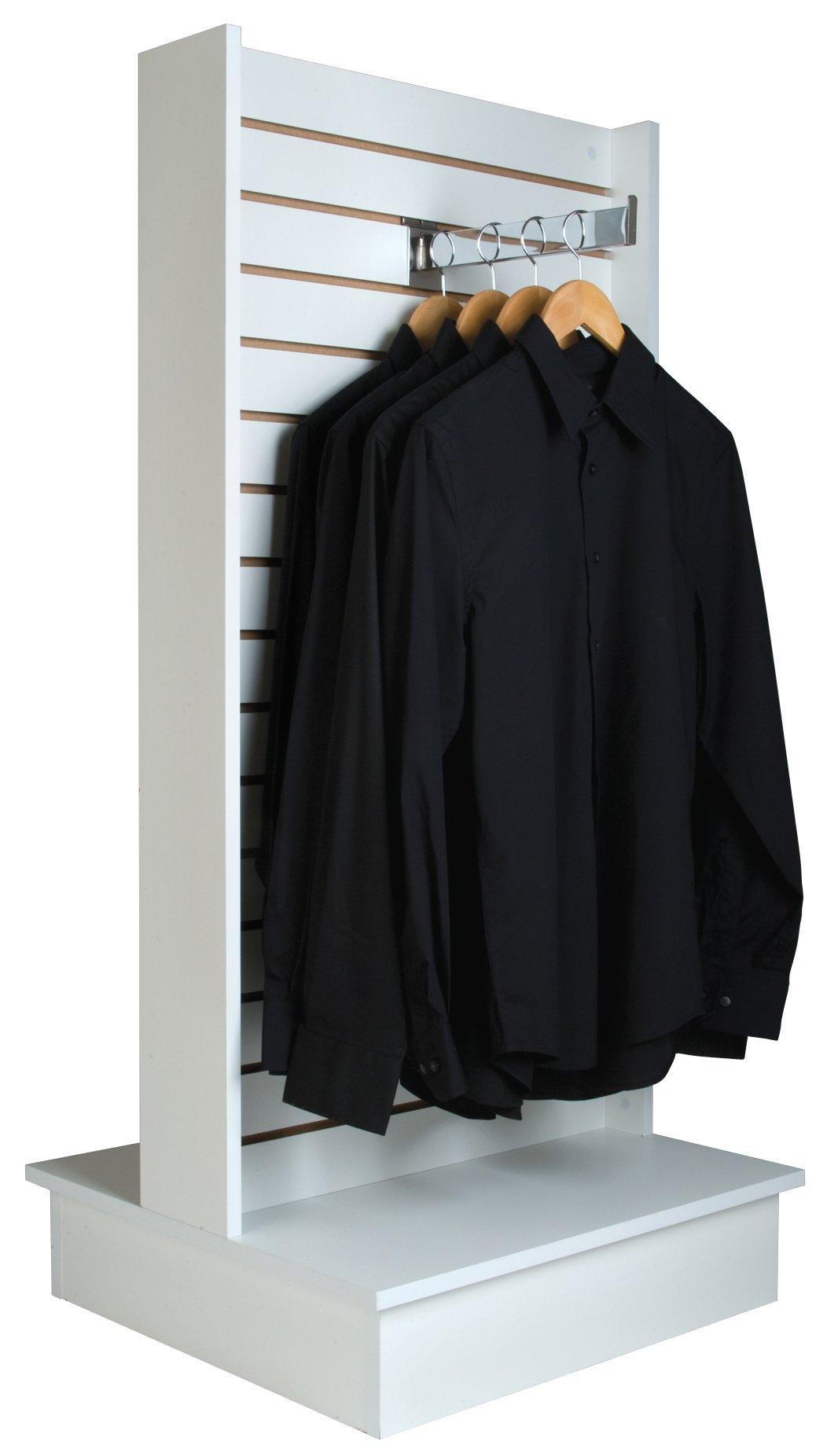 Econoco White Merchandiser for Shelves and Baskets - 2-Way Slatwall Merchandiser, For Heavy Duty Shelves, 25.5'' x 24'' x 54'', Slatwall Panel, Clothing Slatwall, White