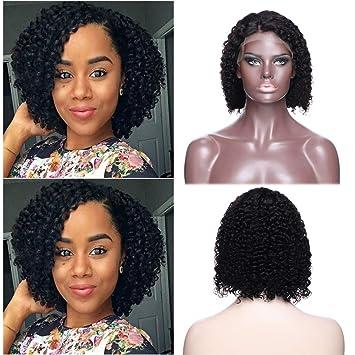 Amazon Com Curly Bob Lace Front Wigs 100 Brazilian Human Hair 8