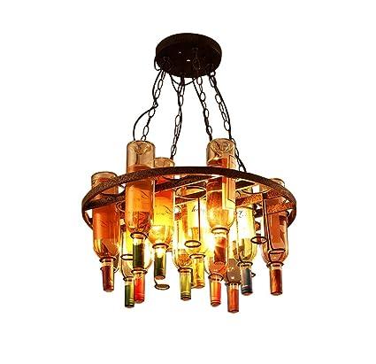 GHDD Araña de época Lámpara de Botella de Vino Tinto de Vidrio Bar de Campo Americano