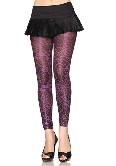 688f0ba32e6c8 Spandex Shimmer Opaque Leopard Print Footless Tights (Purple;One Size)