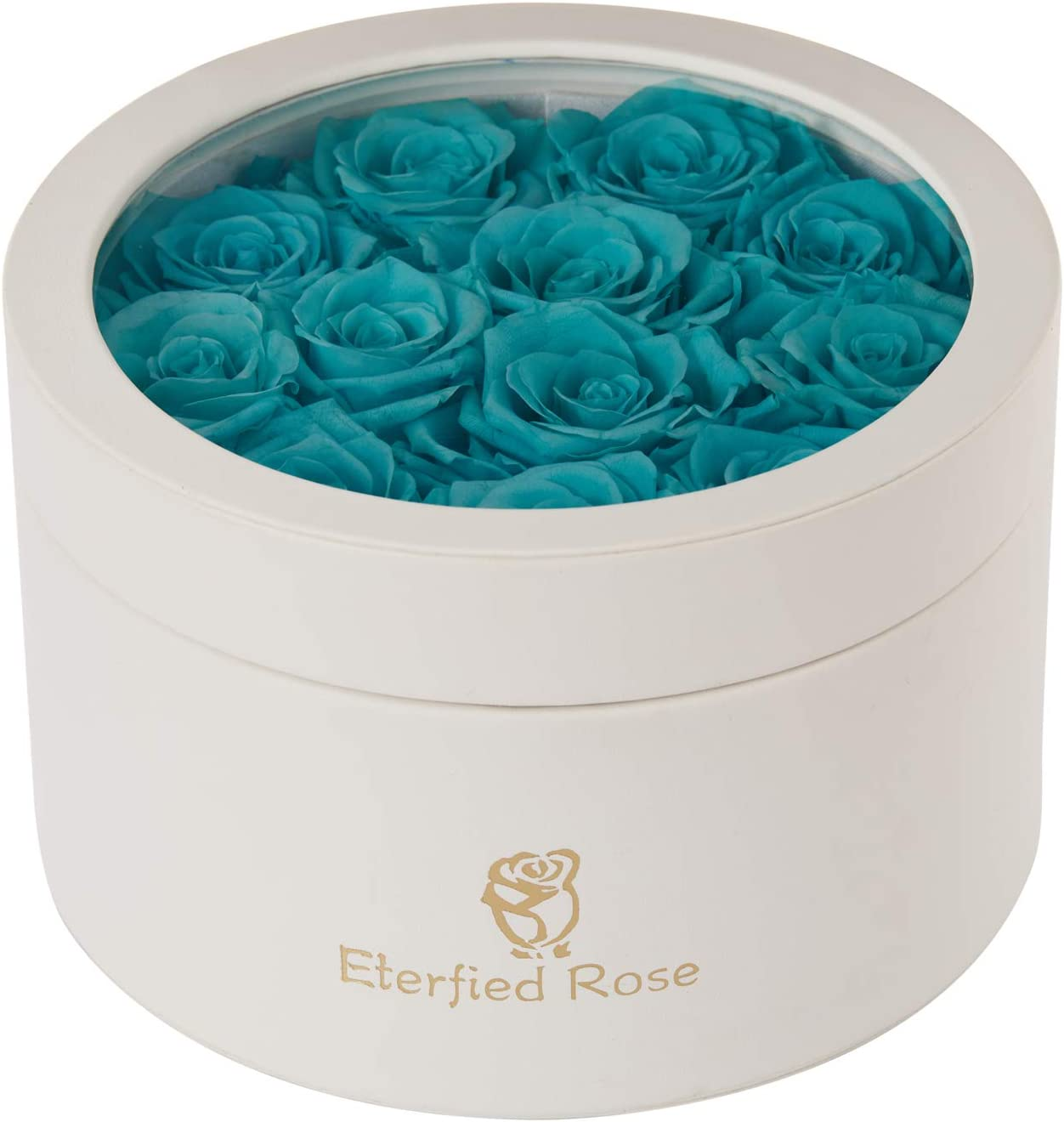 Eterfield Preserved Roses That Last a Year Eternal Roses in a Box Real Rose Without Fragrance Gift for Her (Robin Egg Blue Roses, PU Leather White Box)