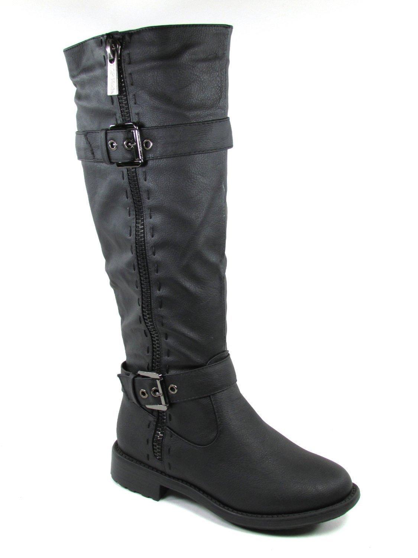 Top Moda Fab 5 Womens Knee High Buckle Riding Boots BLACK,Fab-5 Black 6.5
