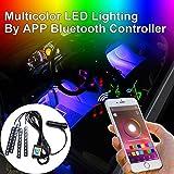 Addmotor 4pcs RGB LED Car Interior Underdash Lighting Kit,Multi-Color Music Sync App Bluetooth Control Car Light Strips Atmosphere Neon Lights Strip for Jeep SUV Trucks Dodge Ford Harley