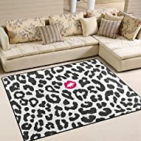 ALAZA Area Rug 53x4Black White Leopard Texture With Kiss Print Non-Slip Floor Mat Carpet for Living Dining Bedroom