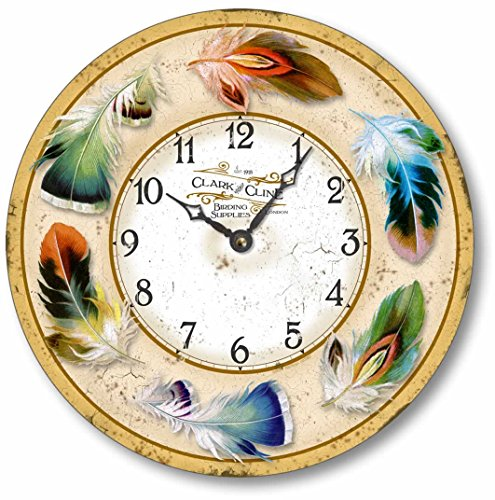 Item C2017 Vintage Style 10.5 Inch Bird Feathers Clock