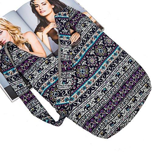 Hippie Crossbody Bag Thai Top Zip Hobo Sling Bag Handmade Hipster Messenger Bag ( Red Tribe ) - Zip Top Hobo Handbag