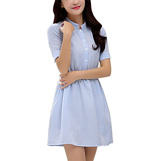2711706ae31c Image Unavailable. Image not available for. Color  Yiitay Women Summer  Fashion Korean Female Short Sleeve Striped Linen Casual Dresses ...