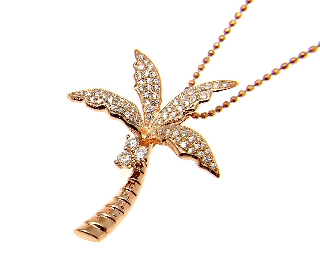 Arthurs Jewelry 925 sterling silver pink rose gold plated Hawaiian 3d palm tree cz slide pendant