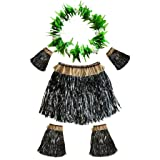 Hawaiian Luau Hula Grass Skirts, Amycute Dancer Skirt Costume Set with Green Leaf Garland for Women Men Girls Hawaiian Party Favors Decorations Supplies