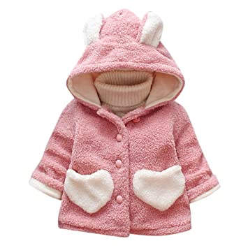dabdca009638 Amazon.com  Winter Girls Cute Coat Baby Kids Outerwear Ear Heart ...