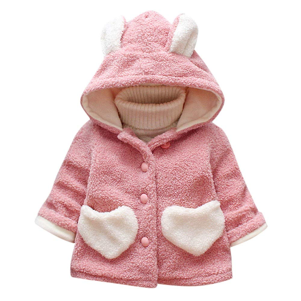 Kehen Infant Baby Toddler Girl Winter Warm Clothes FleeceThick Coat Hoodie Jacket with Heart Pocket