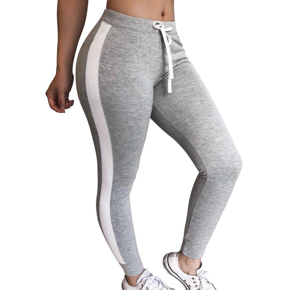 Naladoo Women Striped Stitching Sweatpants Casual Drawstring Sport Skinny Pants Naladoo Shop