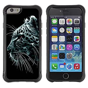 Hybrid Anti-Shock Defend Case for Apple iPhone 6 4.7 Inch / Majestic Snow Leopard Painting