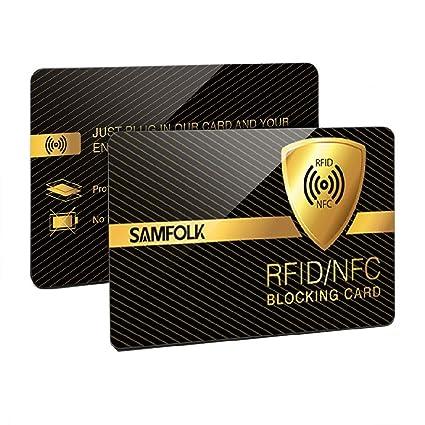 RFID Tarjeta, 2 Piezas-Tarjetas Anti RFID/NFC Protección de Tarjetas de Crédito Sin Contacto, RFID Blocker Permanentemente Valido, Ultrasottile e ...
