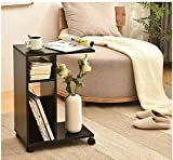 Modern End Tables For Living Room Wooden,Black Sofa Side Table with Storage Magazine With Wheel Night Stand For Bedroom, Movable Tea Coffee Table Wooden Table WSTECHCO