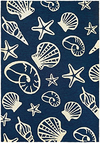 (Couristan Outdoor Escape Collection Round Cardita Shells Rug, Navy/Ivory, 7'10