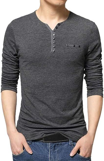 Blusa de Hombre BaZhaHei Camisetas de Hombre Abierta de Color sólido Lino Casual para Hombres del Camisas de Manga Larga para Hombre Polo con Cuello en V de Blusa de Hombre Ropa