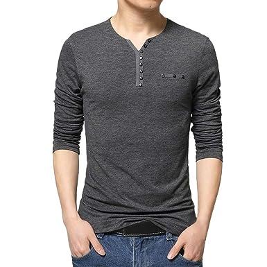5be1273732c52 Blusa de Hombre BaZhaHei Camisetas de Hombre Abierta de Color sólido Lino  Casual para Hombres del Camisas de Manga Larga para Hombre Polo ...