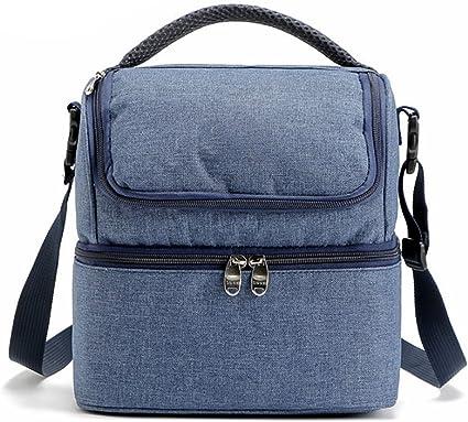Childrens los hijos adultos se refrescan bolsos del almuerzo con aislamiento bolsa de picnic Bolsas Escuela Fiambrera Azul
