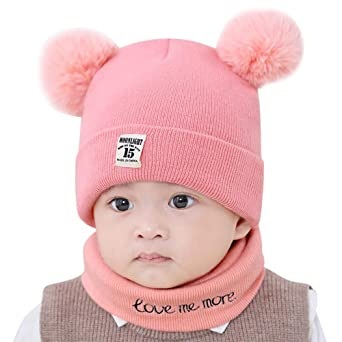12e5fb0d026b Bonnet Bébé, Mamum 2pc Bonnet + Tour de Cou Hiver Bébé Enfants Cagoule  Chaud Casquette