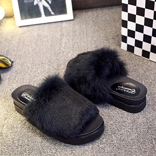 OverDose Damen Breathable Thick Bottom Sliders Flauschige Faux Plüsch Flache Slipper Flip Flop Sandalen Freizeit Slipper A-Black