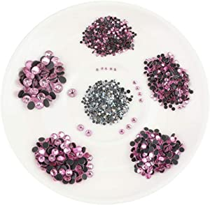 Beadsland Crystal Hotfix Rhinestone,Machine Cut Stone with 5 Size(SS6/SS10/SS16/SS20/SS30) Total 8352pcs (Dk.Pink)