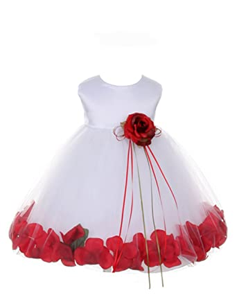 Petals White Satin Satin Tulle Wedding Flower Girl Dress, Made in USA (S/