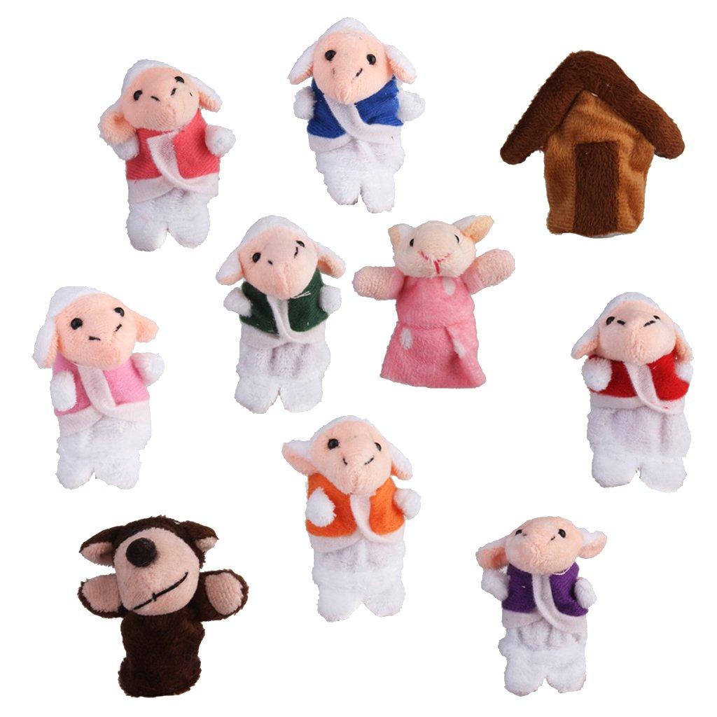 Lot de 10pcs Marionnettes à Doigts Comptine Conte de Fée Le Loup et Sept Petites Agneaux Générique