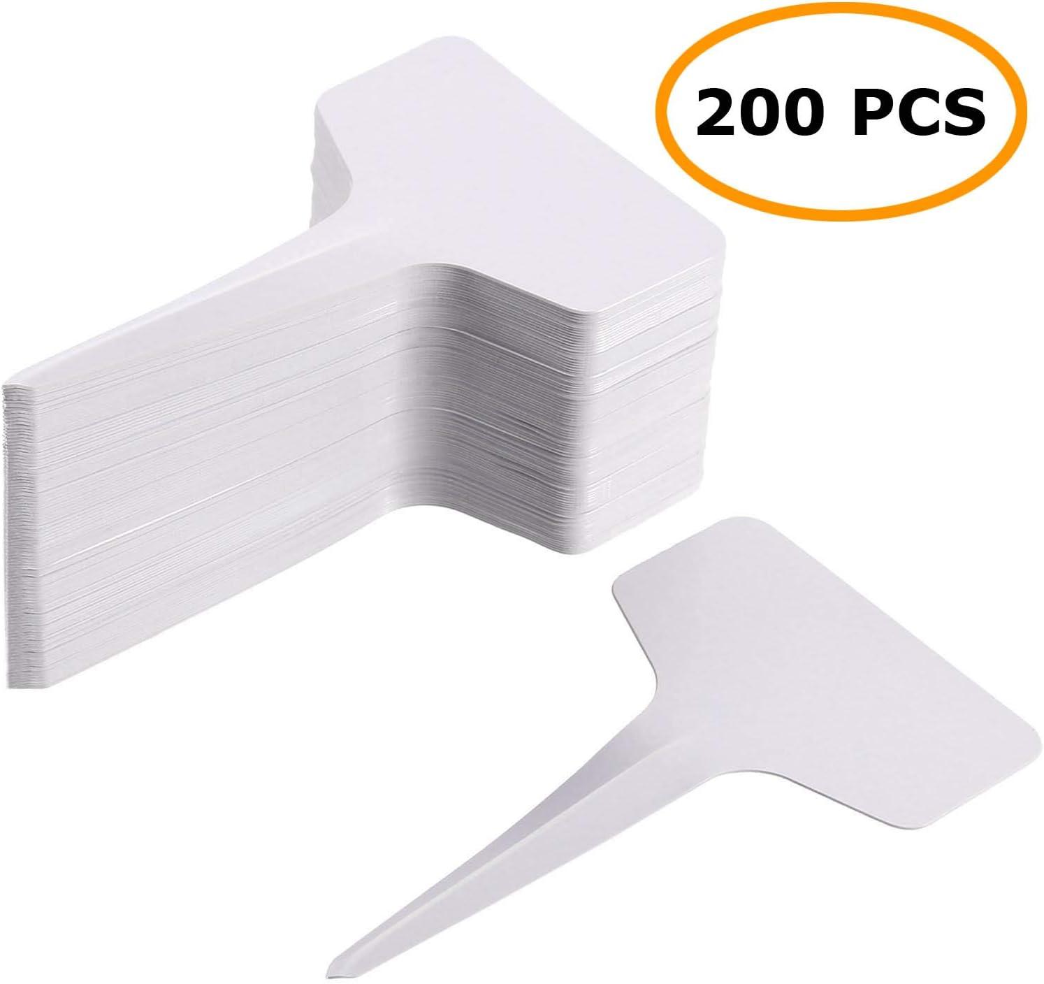 MaKas 200 Etiquetas Blancas Tipo T para jardín de guardería, 2.36 x 3.94 Pulgadas