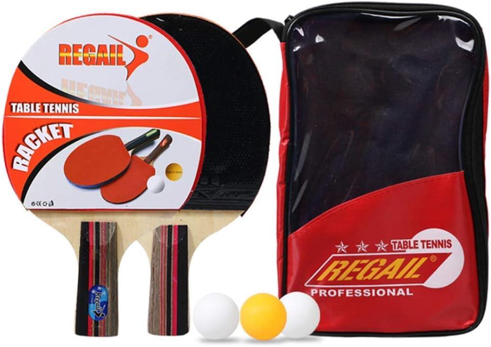 GGOODD Portátil Juego De Paletas De Ping Pong, Paquete De Tenis De Mesa, Conjunto De 2 Jugadores para Jugar En Interiores O Exteriores, 1 Estuche Portátil + 2 Paletas + 3 Bolas De Juego,Rojo