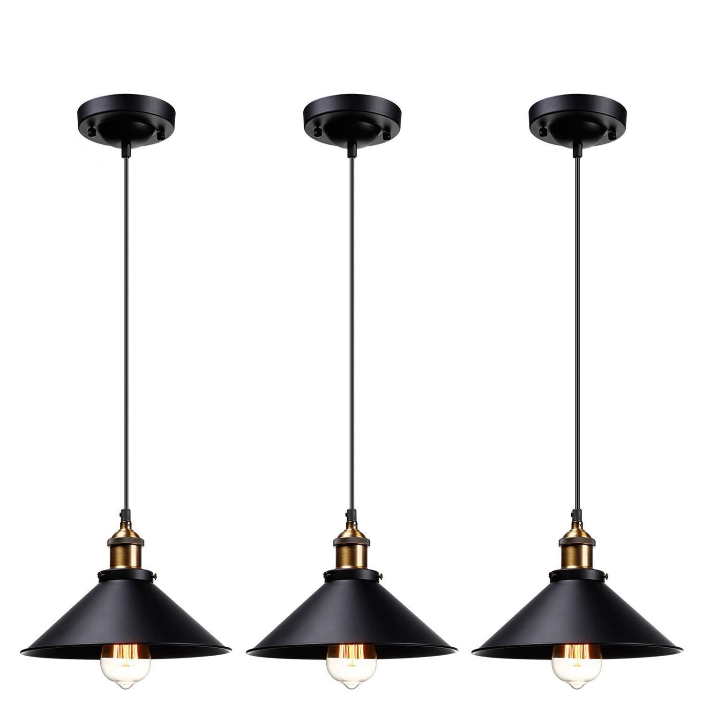 Leonlite 3 Pack Industrial Pendant Lighting For Kitchen