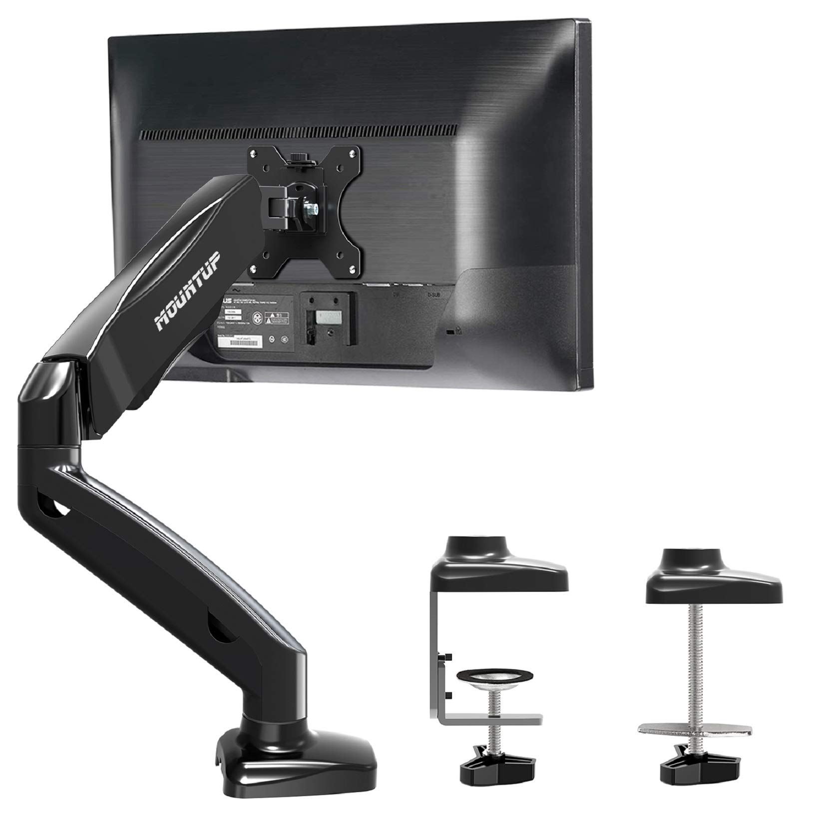 MOUNTUP Single Monitor Desk Mount - Adjustable Gas Spring Monitor Arm, VESA Mount with C Clamp, Grommet Mounting Base, Computer Monitor Stand for Screen up to 32 inch, MU0004