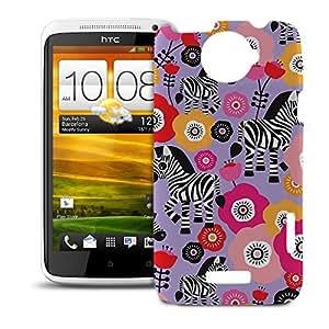 Phone Case For HTC One X - Zebra Blossoms Purple Hardshell Wrap-Around