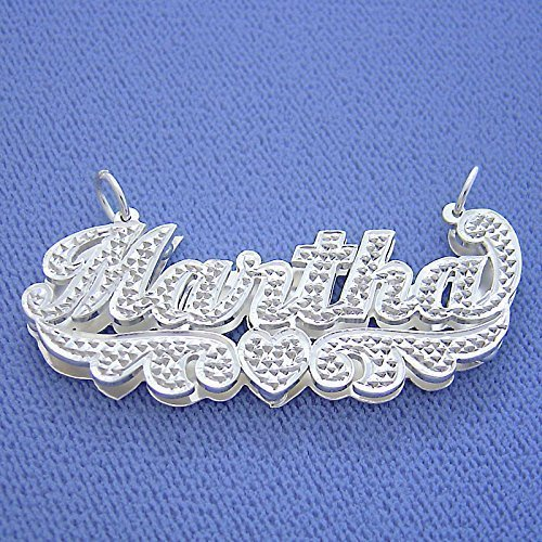 7d322a35987c Image Unavailable. Image not available for. Color  Angel Wings Nameplate  Personalized Script Double Plates Name Necklace ...
