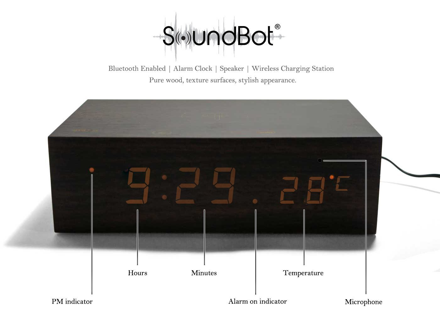 audio speaker bluetooth nfc builtin microphone alarm clock thermometer and large led display for smart phone tablets