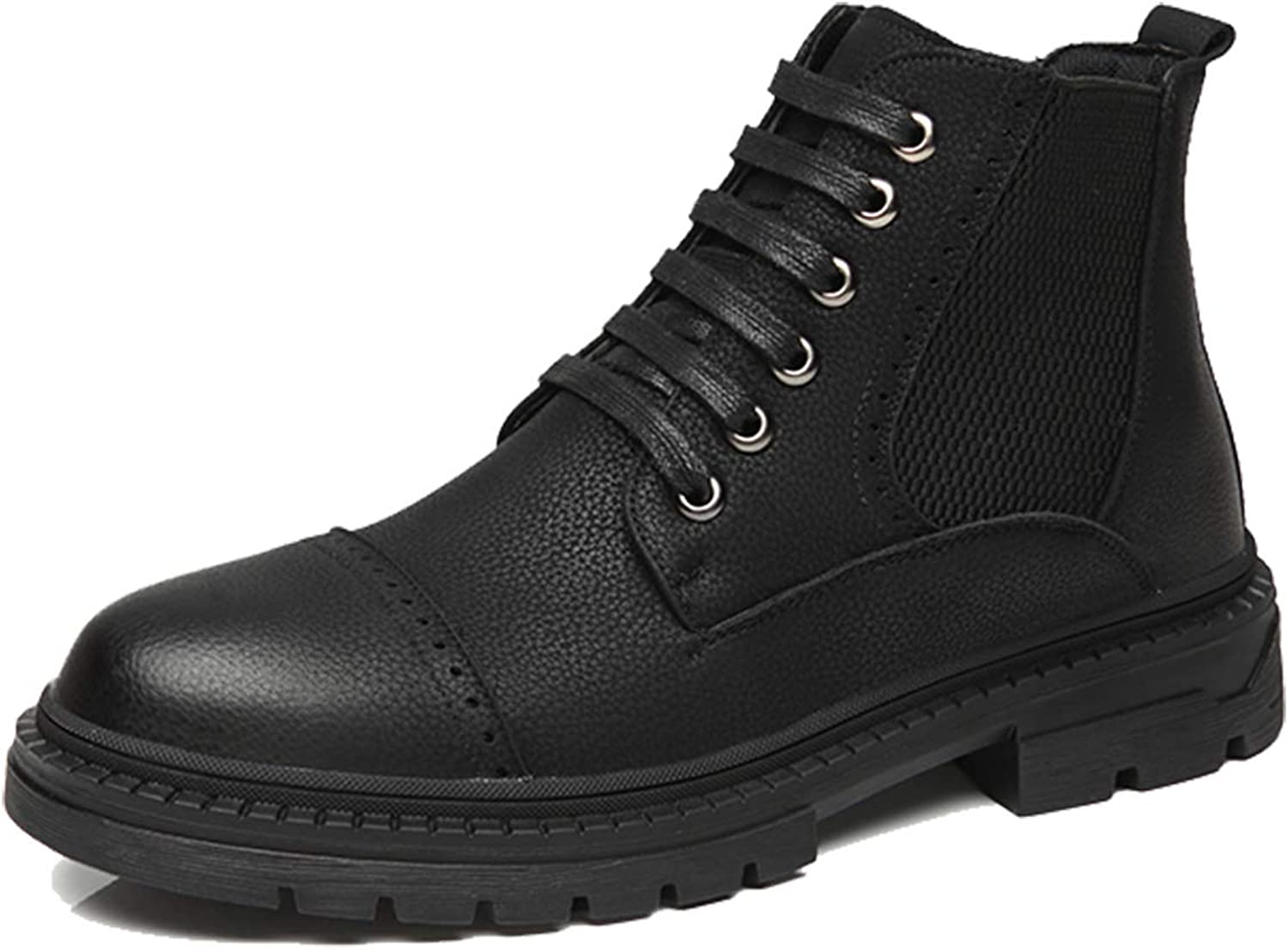 BLACK BREATHABLE LEATHER CHUKKA SAFETY STEEL TOE WORK LACE BOOT MIDSOLE sz 6-10
