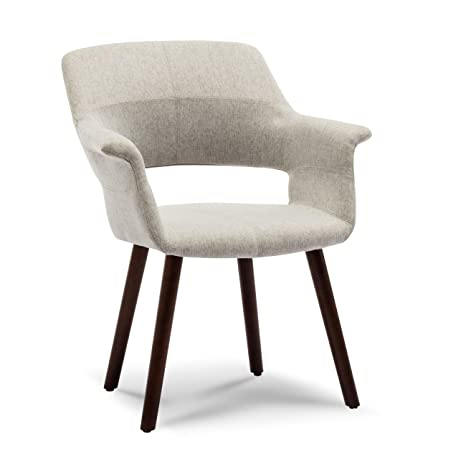 Cool Belleze Mid Century Modern Accent Chair Dining Armrest Curve Back Living Room With Wooden Leg Gray Bralicious Painted Fabric Chair Ideas Braliciousco
