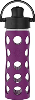 product image for Lifefactory 16-Oz Glass Active Flip Cap/Silicone Sleeve Water Bottle, 16 Ounce, Plum