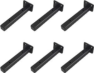 Classic Shelf Bracket 6 inchAnti-Rust Solid Matte Black Well-Made Hidden Shelf Brackets WroughtIronStyle Wall MentalBrace for DIY (6-PackHardware Only)